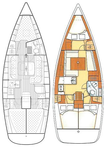 INNREDNING: Bavaria 38 har skikkelig kartbord. Oceanis har innredningen trukket lengre frem. Det gir mindre plass foran hovedskottet, men større lugarer akter.