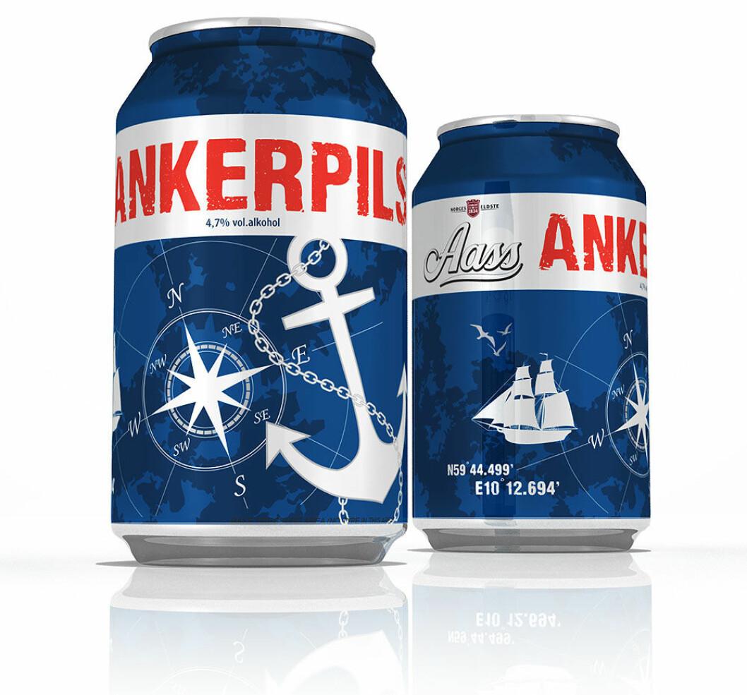 Riktig maritim er ølboksen med den nye ankerpilsen. Til og med bryggeriets GPS-posisjon finner du på boksen!