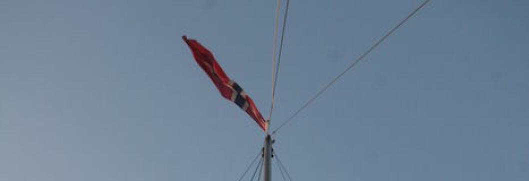 Vi har hedersstørrelsepå gjesteflagget (målene oppgitt i inches var det?) og kompenserer med 4m2norsk flagg øverst i mastetoppen