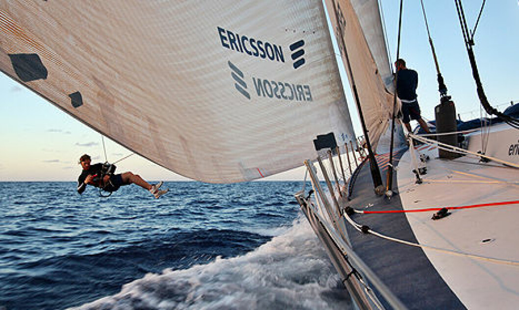 For EDITORIAL USE only, please credit: Gustav Morin/Ericsson 3/Volvo Ocean RaceMedia Crew Member Gustav Morin shooting from the halyard, attached tot he mast, on leg 5 of the Volvo Ocean Race, from Qingdao to Rio de JaneiroThe Volvo Ocean Race ...