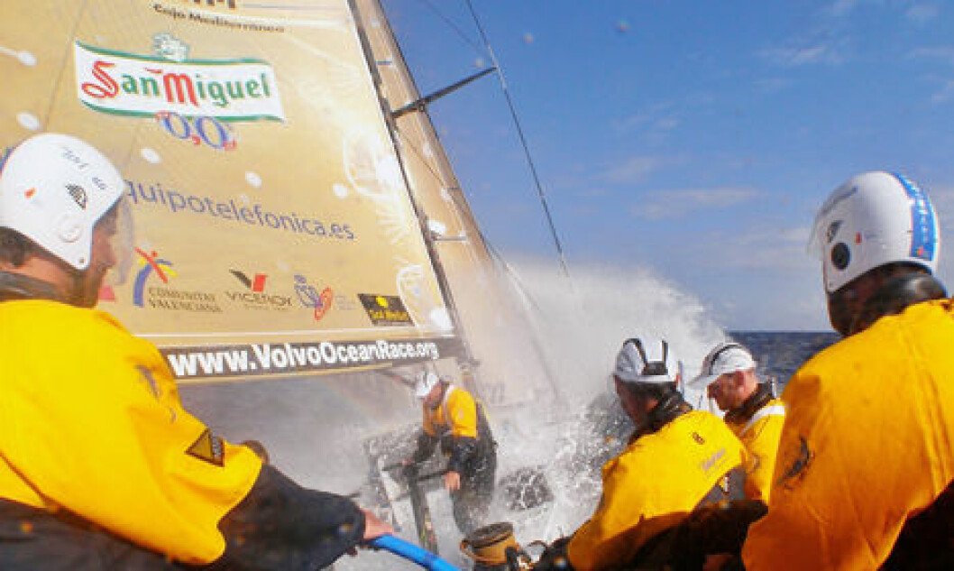 For EDITORIAL USE only, please credit: Gabriele Olivo/Telefonica Blue/Volvo Ocean RaceDaryl Wyslang driving the boat fast under Bouwe's control, on leg 6 of the Volvo Ocean Race, from Rio de Janeiro to BostonThe Volvo Ocean Race 2008-09 will be the ...