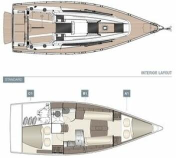 INNREDNING: Dehler 34 får en tradisjonell planløsning. Skroget er hele 3,6 meter bredt.