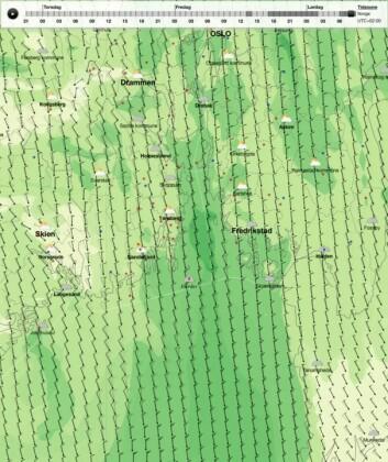 VINDØKNING: Tidlig lørdag morgen og natt til lørdag ser værbildet slik ut; 7?8 m/sek fra nord.