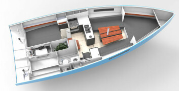 VOLUM: RM970 byr på mye plass på begrenset lengde. Båten har et tradisjonelt kartbord, samt en stor bysse.