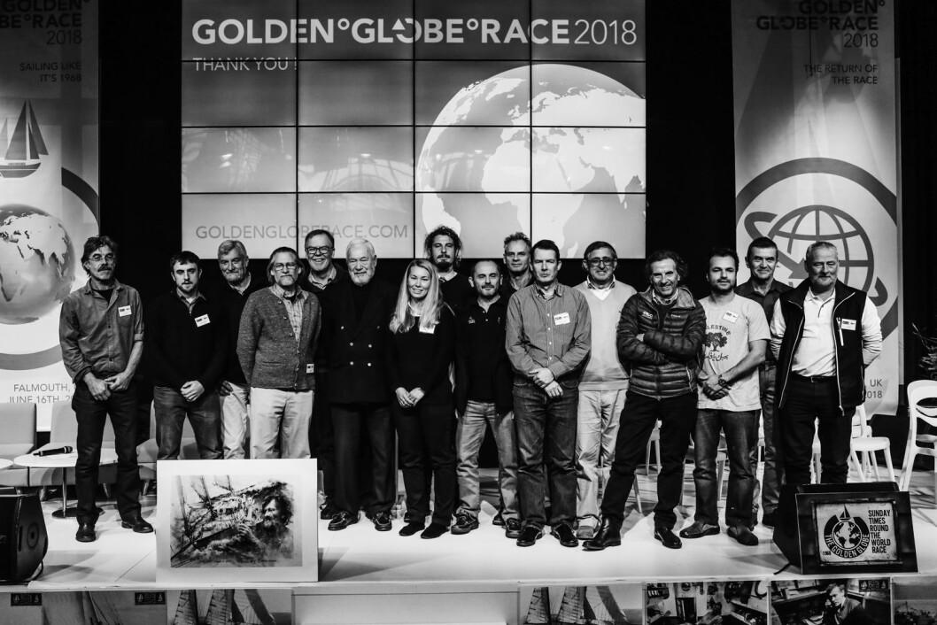 GOLDEN GLOBE: Seilerne i Golden Globe Race 2018 ble presentert i Paris.