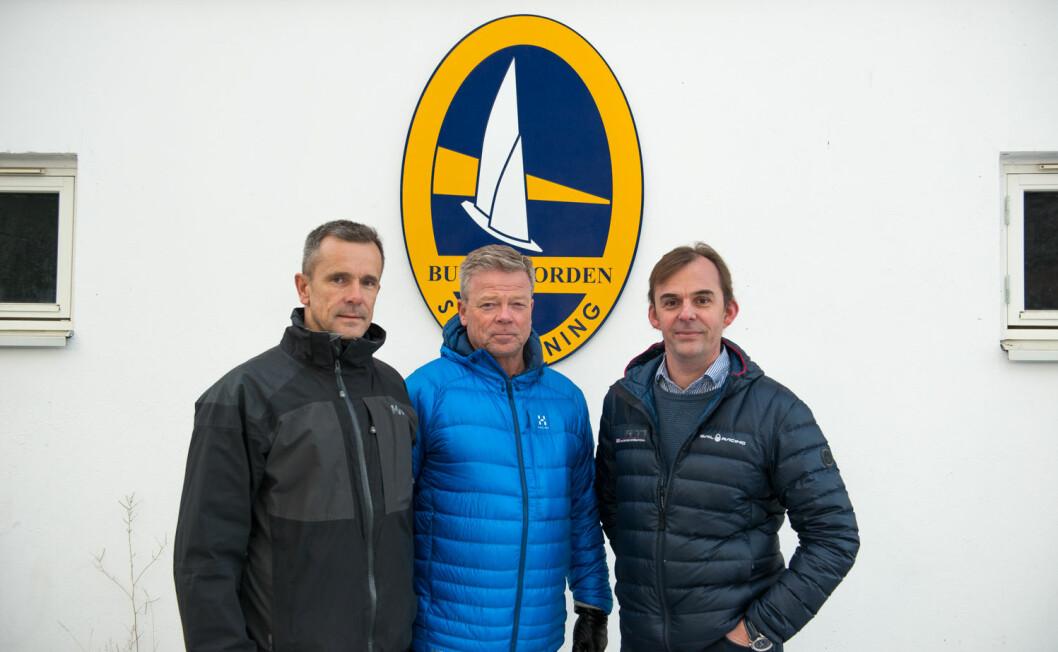 SEILE: Etter mange år med tidsødende arbeid om området Myren, håper fra venstre Eivind Bakke, Bjørn Strand Jacobsen og Erik Kristiansen å få tid til å konsentere seg om seiling i 2017.