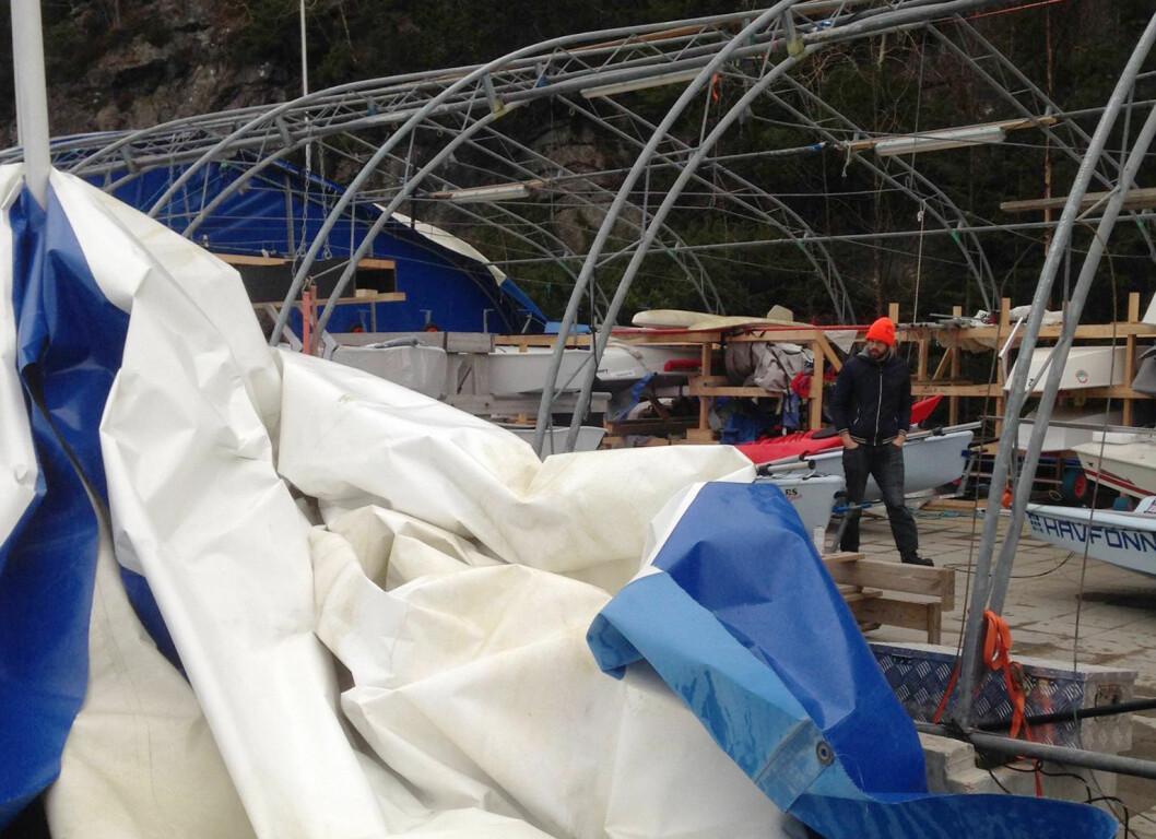 URD: Stormen Urd gjorde ugagn med jolle-teltet.