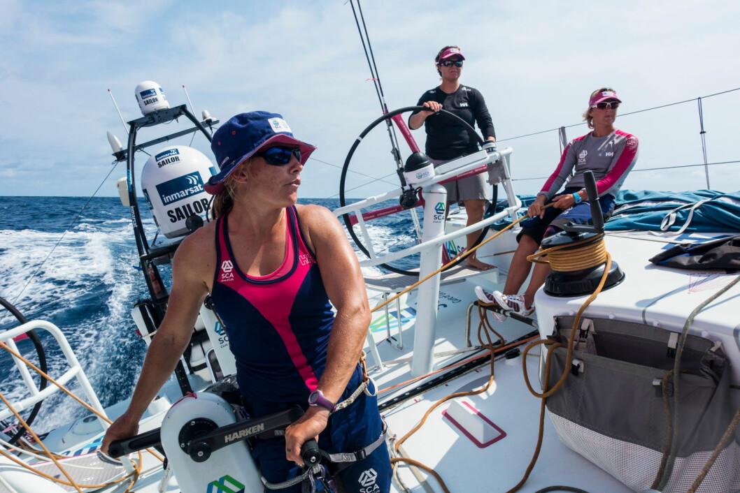 February 24, 2015. Leg 4 to Auckland onboard Team SCA. Day 16. Liz Wardley, Abby Ehler and Sally Barkow.