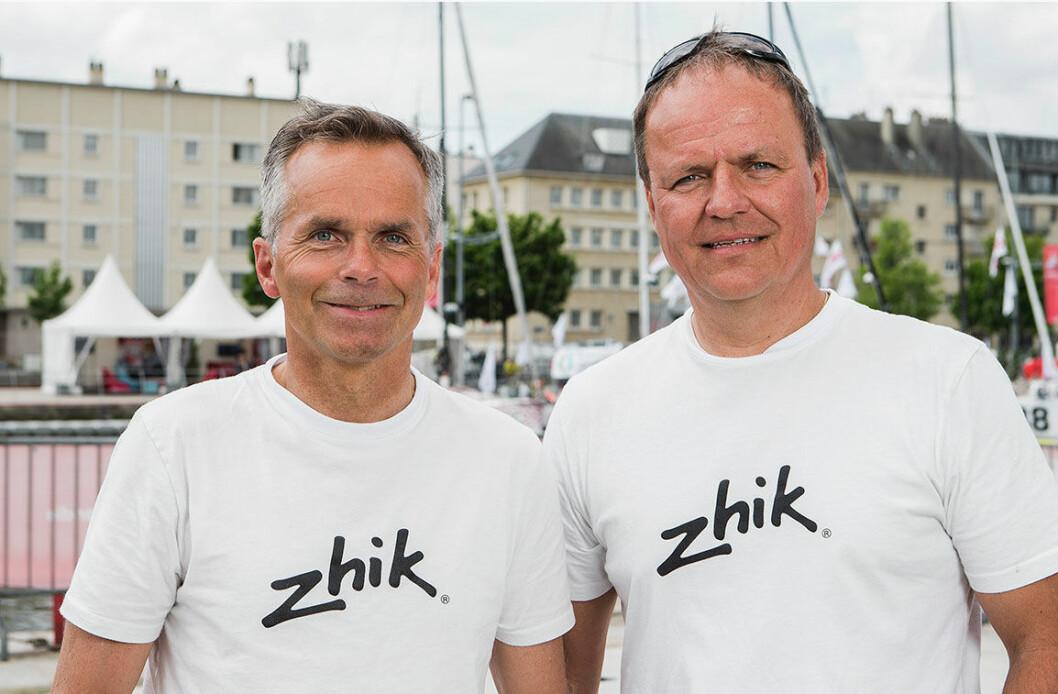 GIR GASS: Simen Løvgren (t.v) og Rune Aasberg er klare for start i den store, internasjonale shorthanded-regattaen Normandie Challenge Race.