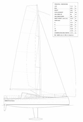 DATA: Bente 39 blir 11,9 meter lang, 4,05 bred og vil veie 6,6 tonn. Seilarealet på slør blir nesten 200 kvm