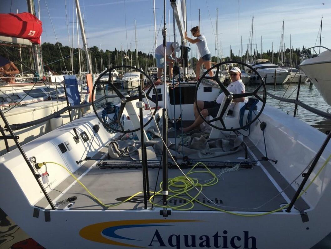 SJØSATT: Aquatich 40 er på vannet, og skal seiles inn før VM som starter om to uker i Italia.