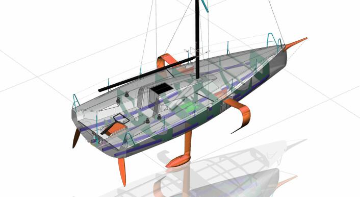 SNITT: Liner er trukket tilbake i kanaler fra mast til cockpit. Rorkulten er plassert langt bak i båten. Den får også fast baugspryd.