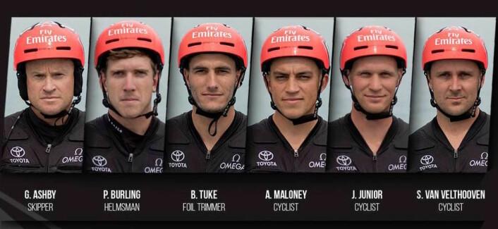 VINNERNE: Emirates Team New Zealand består av tre seilere og tre syklister.