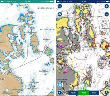 OVERSIKT: Embarks kart er enklere å lese enn kartene fra Navionics.