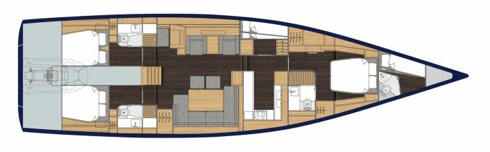 PLANLØSNING: Båten får byssa trukket frem. Den leveres med tre eller fire lugarer pluss mannskapslugar i skarpen.