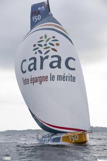 EKSTREM. «Carac» er siste Class 40 på vannet, og har en ekstrem baug. Den viste seg effektiv inn mot mål.
