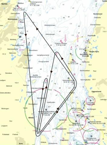KART: Baneskisse av Sætrekruset som seiles 2. september.