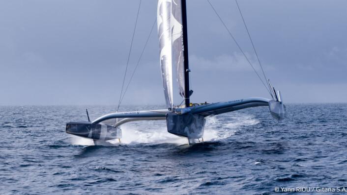 FOILER: Båten har L-foiler på sideskrog og T-foil på senterskrog.