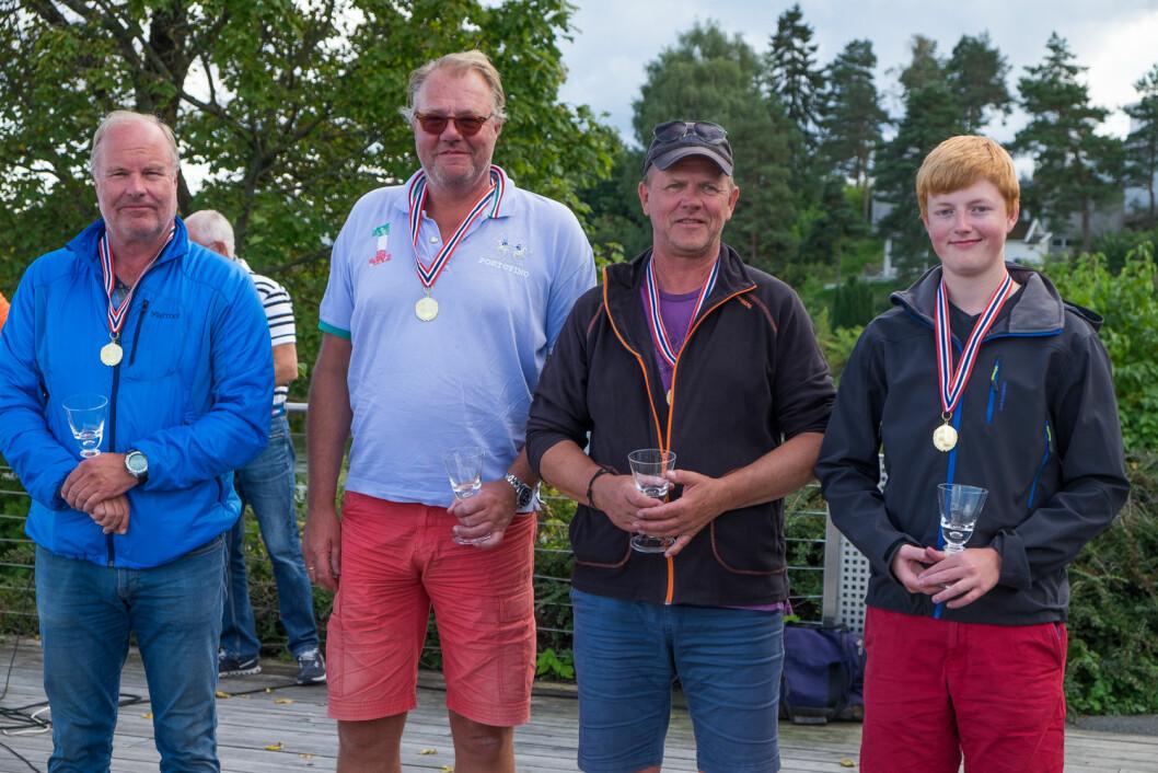 Norgesmesterne i 11MOD: Rune Pedersen (Drøbaksund), Truls Berger (Drøbaksund), Even Bjørsom (Mandal) og Thomas Hammarstrøm (Drøbaksund).