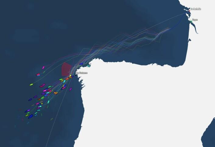KART: Første båt har seilt 566 nm ut fra La Rochelle, og har 767 nm igjen til Las Palmas.