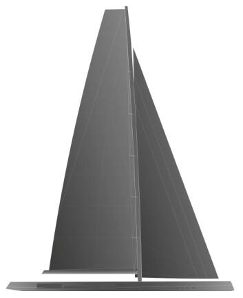 HØY: Designeren har ikke oppgitt mastehøyden, men ut i fra proposjoenne fra denne tegningen blir den 93 meter høy. Den løftbare kjølen stikker ni meter.