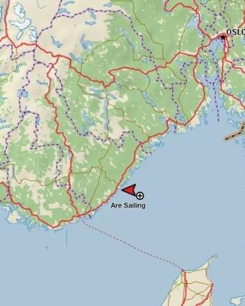 TRACKING: Are Wiig har holdt en fart på ca 6 knop sydover mot Lindesnes.