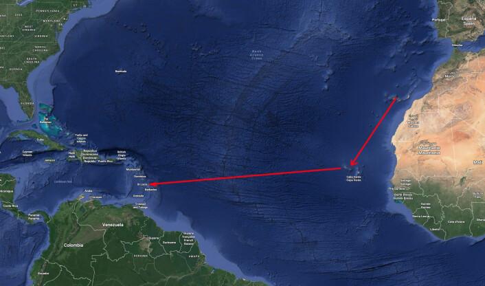 RUTE: Med ARC+ er det en uke fra Kanariøyene til Kapp Verde, og litt over to uker fra Kapp Verde til Karibia.