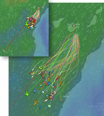 LENS: Vinden har vært rett i ryggen, og båtene har krysslenset sydover. DEt har skapt en stor spredning i feltet.