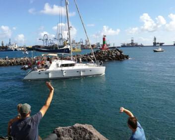 OPPTUR: Den 50-fots katamaranen har godt med forsyninger, og har ingen problemer med at turen til Kapp Verde tar mer tid enn beregnet.
