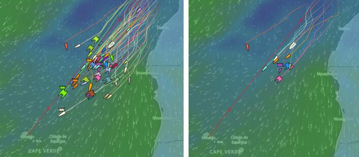 VIND: Alle båtene til venstre, og de norske til høyre. «Abraxas3» gikk ekstremt til vest, og har tapt mye, mens båtene langs kysten av Afrika har hatt bedre forhold.