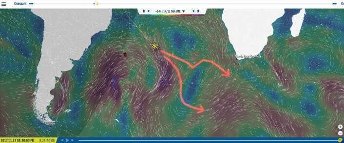 VALG: Været tirsdag morgen. Vil Gabart seile nord for høytrykket som er som en barriere, eller gå syd.