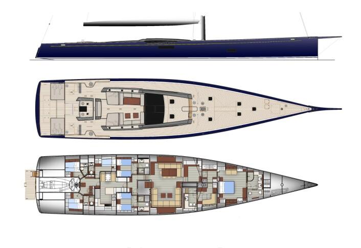 TEGNINGER: Båten har bare tre lugarer, om du trekker vekk mannskapslugarene.