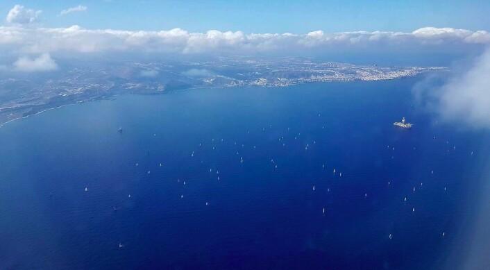 FLY: Finn Audun Bostad fløy fra Las Palmas like etter start, og fikk feltet fra flysetet.