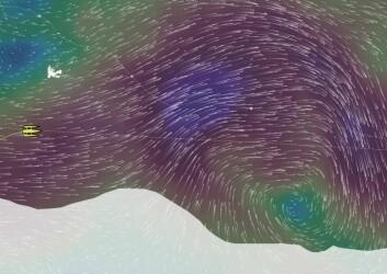 LAVTRYKK: Om 48 timer vil Gabart være rett nord for lavtrykkets senter som er på vei østover.