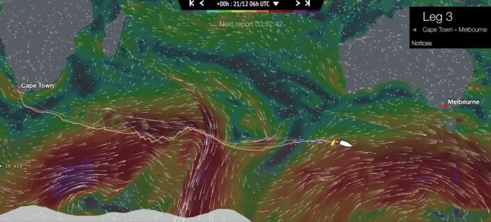 SØRISHAVET: Andre etappe er den klassiske etappen som hav manglet i Volvo Ocean Race de siste gangene. Teten har 1400 nm igjen, som skal være mulig å seile med en snittfart på 19,5 knop.