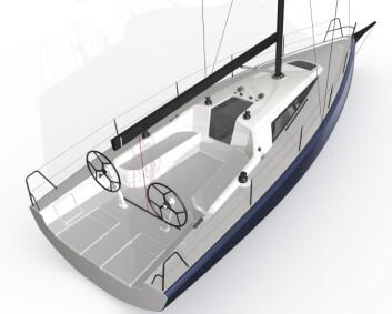 COCKPIT: Båten leveres standard med rorkult, men kan også ha to ratt. Cockpiten har fire vinsjer.