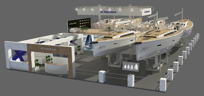 UTSTILLING: X-Yachts viser stor bredde i Dusseldorf og har tatt med seg seks båter.