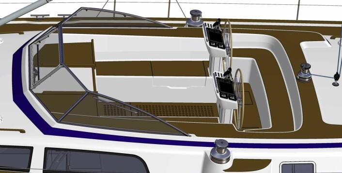 RATT: Hallberg-Rassy 57 får en stor cockpit med to ratt. Båten får bare to vinsjer, men styrt med knapper.