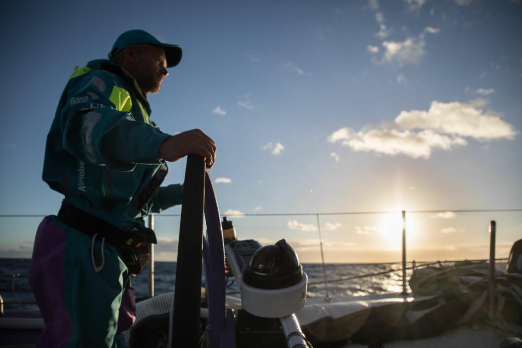 Leg 6 to Auckland, day 19 on board AkzoNobel, Chris Nicoholson at sunrise, 25 February, 2018.