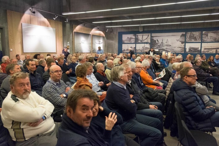PROPPFULLT: Oslofjordmuseet var fylt til randen av interesserte som vil høre siste nytt om polarskuta «Maud».