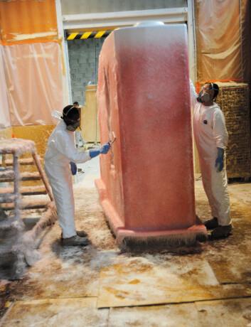 TOALETTROM: Toalettrommet blir støpt i en hel modul for blant annet å redusere muligheten for vannlekkasjer.