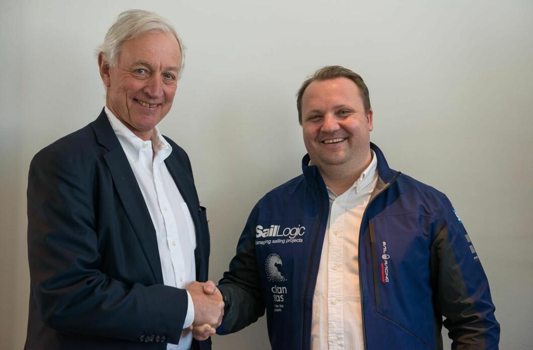 ENIGE: Norges Seilforbunds president, Jørgen Stang Heffermehl, og leder av SailLogic, Magnus Hedemark, har undertegnet en langsiktig avtale om seilsportsligaen.