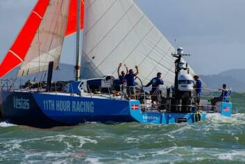 FORNØYDE: Vestas har nok tid for å gjøre båten klar for neste etappe.