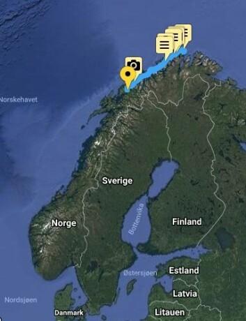 PROGRESJON: Klann har nå seilt mer en 1/4 til Lindesnes,men er fortsatt i Troms.