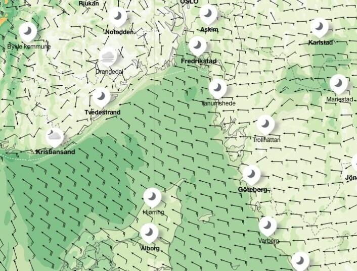 PROGNOSE: Østavind ved soloppgang torsdag morgen.