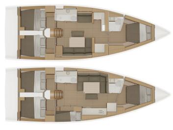 INNREDNING: Dufour 430 kommer med tre eller fire lugarer. Planløsningen er original.