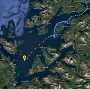 TURBO: 11. mai har Klann satt ny fartsrekord. Hver prikk er for hvert 15. minutt. Han seiler i dag hastigheter over 10 knop på Harstad.
