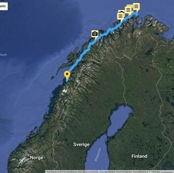 LANGT: Magne Klann har seilt over 1/3 del av distansen mellom Nordkapp og Lindesnes.