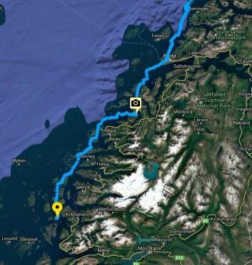 HELGELAND: Magne Klann har seilt 50-60 nautiske mil sør fra Bodø hvor han måtte vente to dager på grunn av dårlig vær.