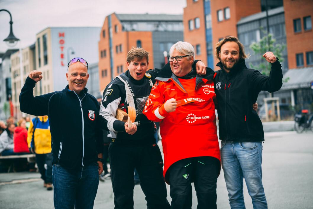 BEST I BODØ: Brevik Seilforening vant første serierunde i Bodø. Fra venstre Nils Petter Hovemoen,  Ole Martin Lunde Lidal, Dag Usterud og Oscar Widestam.